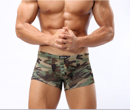 Aufstrebend Heißer Verkauf Boxer 1 Stücke Marke Cockcon Männer Sexy Unterwäsche Sexy Armee Grünen Camouflage Boxer Männer Homosexuell Unterwäsche