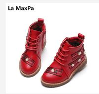 La MaxPa 2017 autumn and winter in the snow boots side zipper rivets Martin boots casual plus cashmere shoes