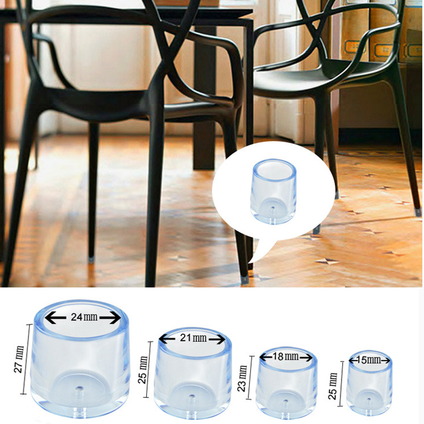 4PCS Clear Rubber Furniture Cap Table Chair Leg Floor Mat Cover Protector4PCS Clear Rubber Furniture Cap Table Chair Leg Floor Mat Cover Protector