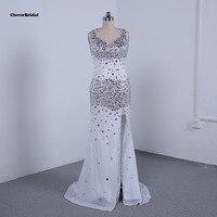 Incrível lindo pedras cristais frisada nudez sexy especial ocasião vestidos backless branco de alta fenda vestido de noite das mulheres