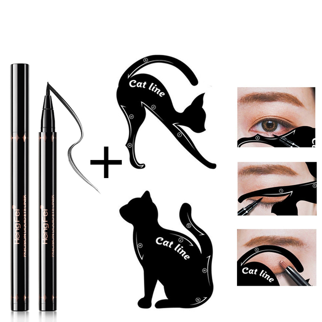 Красивые большие глаза набор инструментов для макияжа черная жидкая подводка для глаз и кошка подводка для глаз Трафаретный Рисунок стрелка для глаз шаблон макияжа