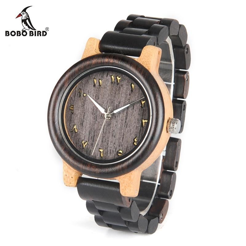 BOBO BIRD V-N14/N15 Lovers Nature Ebony Wood And Bamboo Quartz Watches Top Brand Luxury Montre Homme Clock Unisex