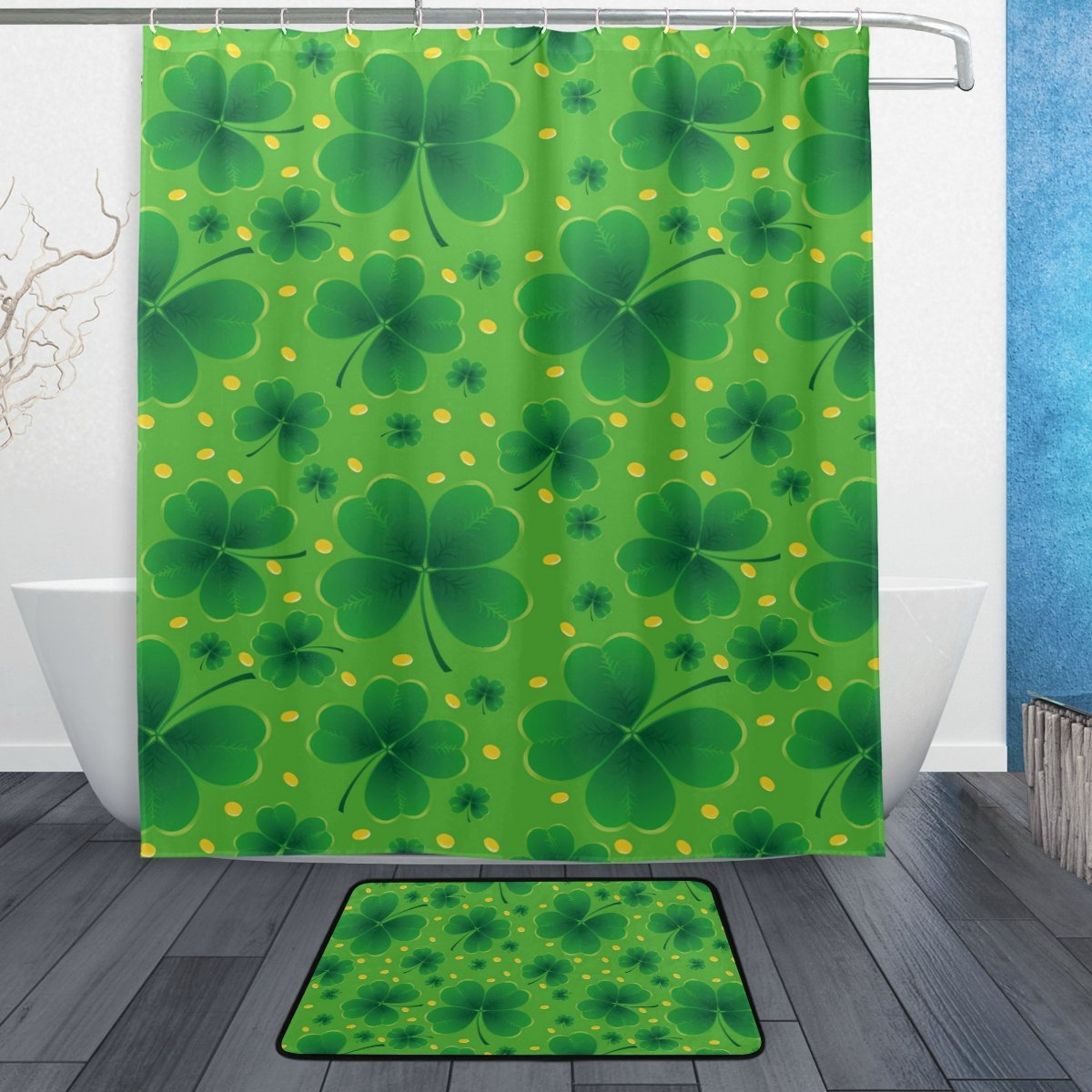Saint Patricks Day Shower Curtain and Mat Set, Lucky Clover Spring Green Leaf Waterproof Fabric Bathroom Curtain