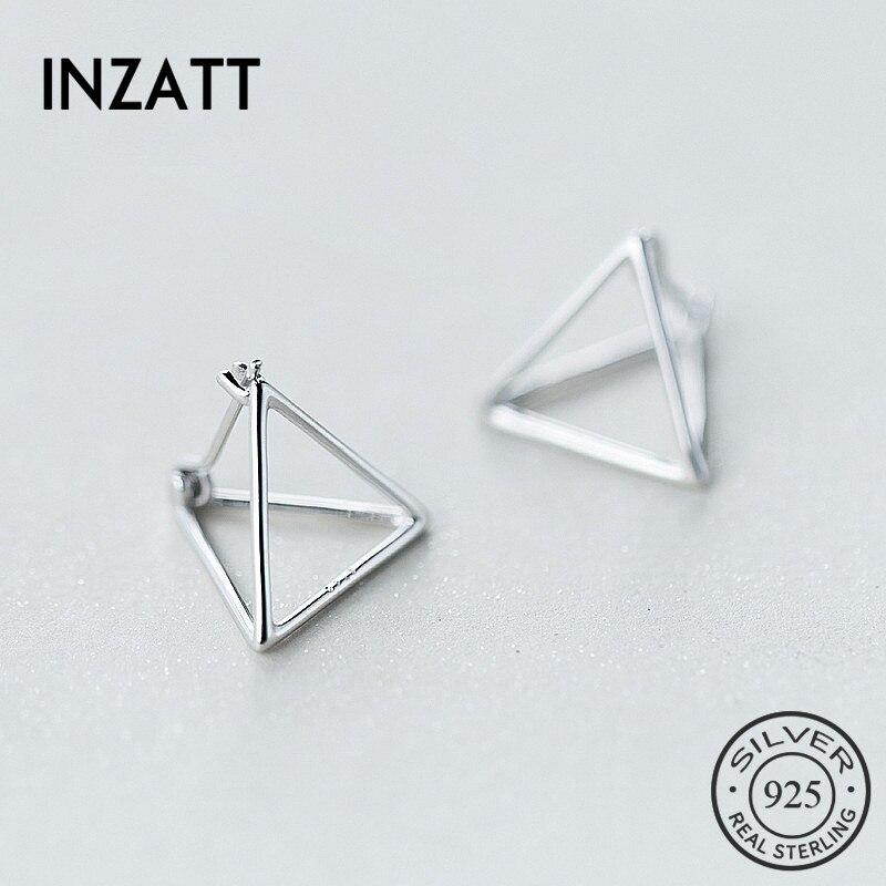 INZATT Punk MInimalist Geometric Triangle Hoop Earrings Charm 925 Sterling Silver Fine Jewelry For Women Personality Accessories