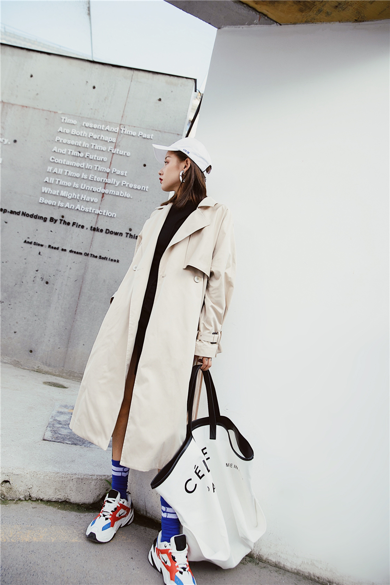 "British style Long Sleeves Autumn pleated coats women""s Long sleeve windbreaker overcoats abrigo mujer 14"