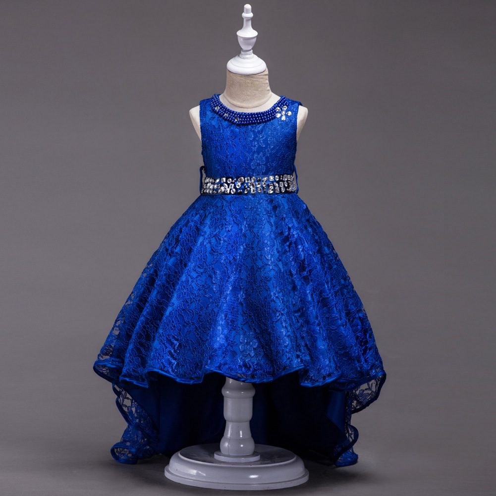 Children Gown Designs 3 Pearl Necklace Royal Blue Flower Ball Pageant Dress for Girls Glitz Kids Long Wedding Dresses gown