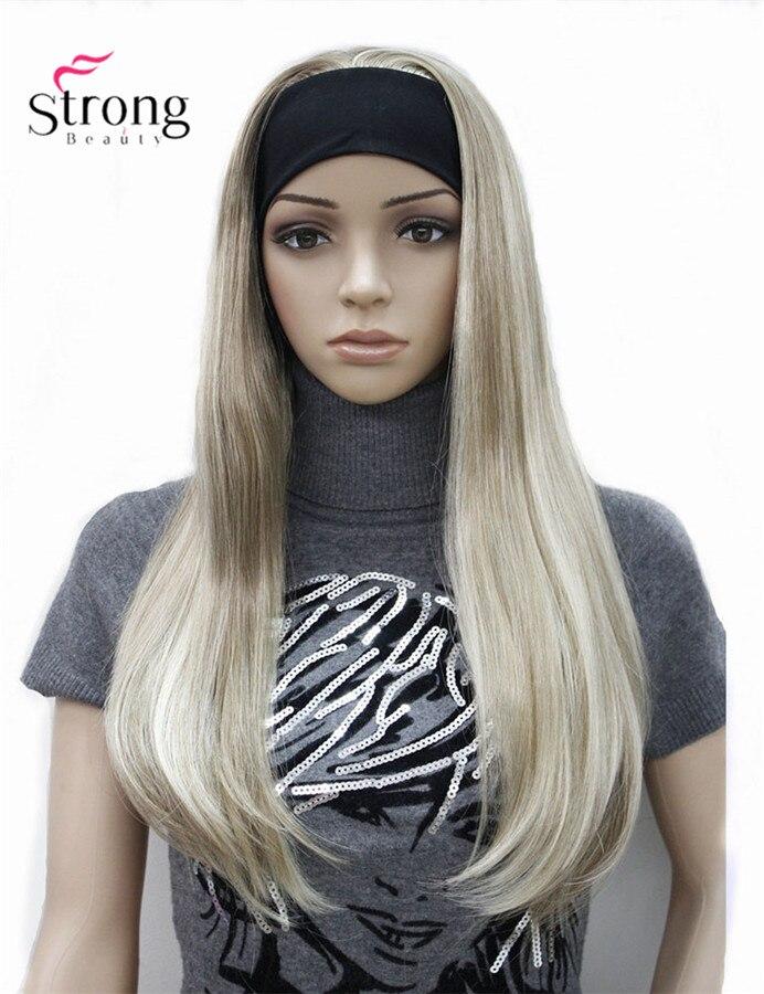 長い3/4女性のかつらかつらストレートで調整黒カチューシャブロンドハイライトさかつら人工毛