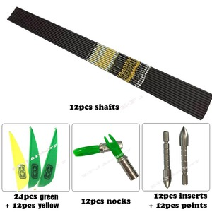 """Image 2 - + .001"""" DIY Spine 350 400 450 500 600 700 750 800 ID4.2mm Carbon Arrows Shaft Vanes Recurve Compound Bow Hunting Shooting n"""