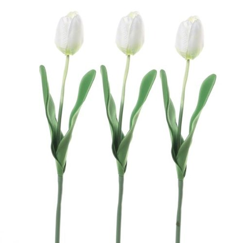 DHDL! 3 x Tela Tulipán Flor Artificial De Plástico Decoración Casa Oficina BLANC
