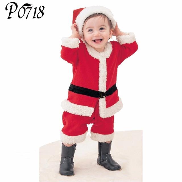b7bc6022877fd 2018 Children Christmas Clothing Set 12M-3T Baby Boys Girls Suit Dress Santa  Claus Costumes Newborn Xmas Red Clothes Gift Caps