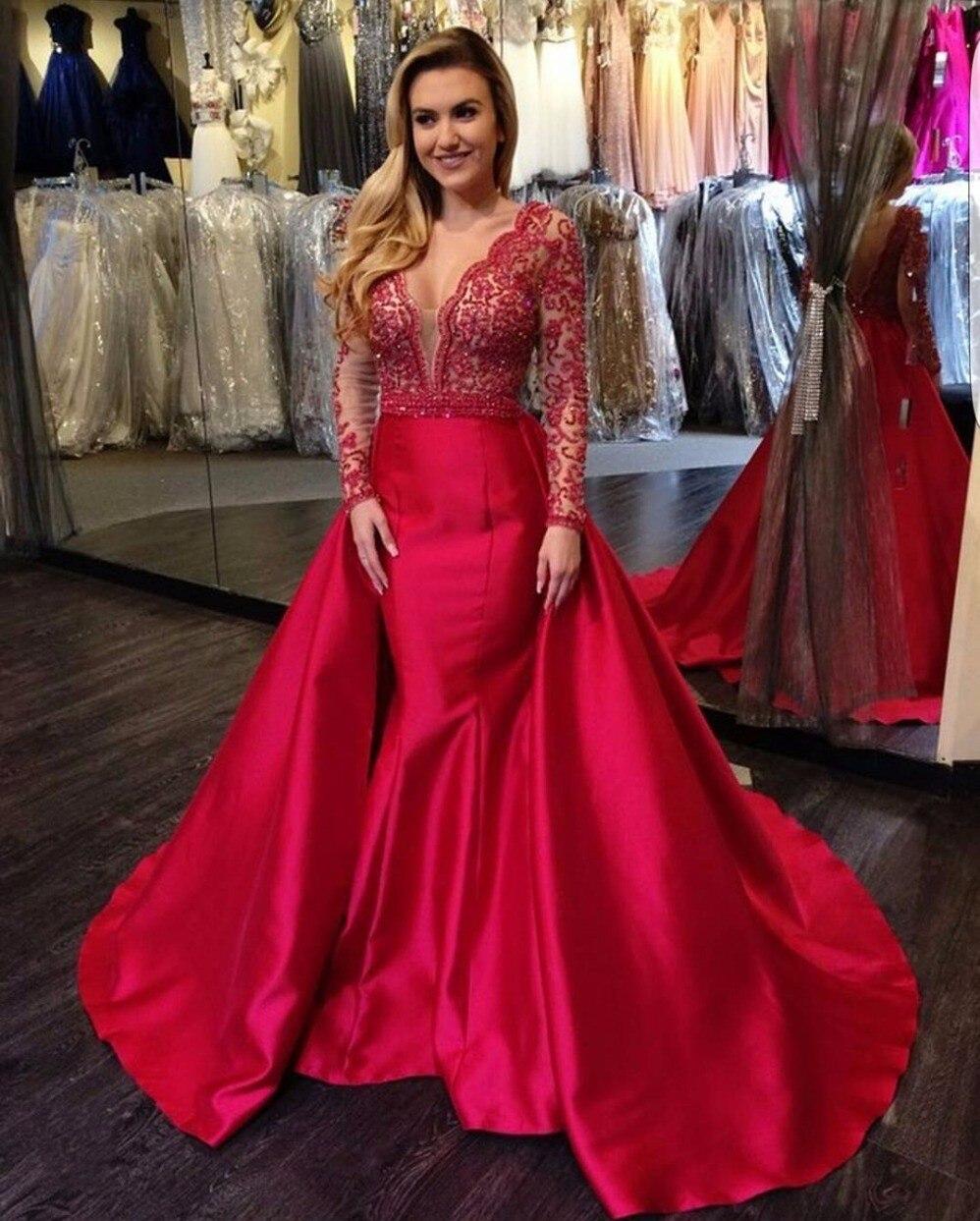 Deep V Neck Red Evening Dresses Long Sleeve Mermaid