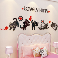 Lovely Kitty Design Wall Sticker DIY Acrylic Stickers for Baby Room Nursery School Cake Store Home Decoration
