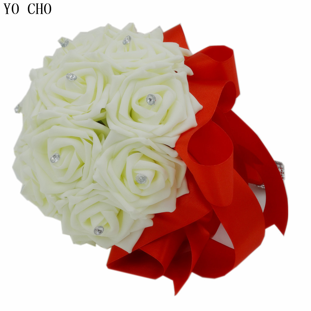 Hand Made Ivory White Wedding Bouquet Red Silk Crystal Bridal