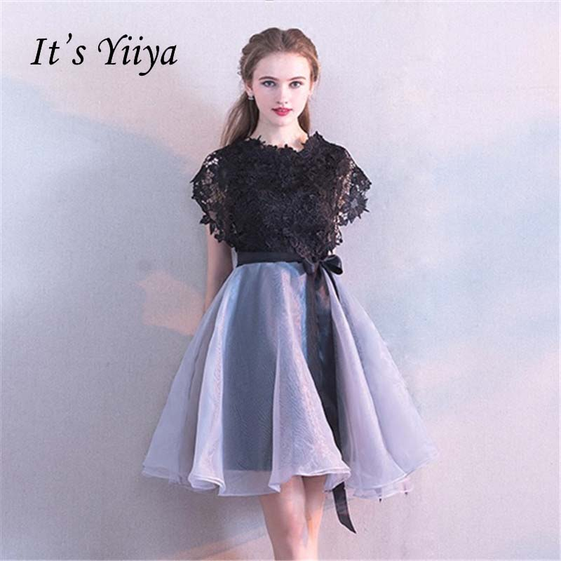 It's YiiYa   Bridesmaids     Dresses   Elegant Black Lace Patchwork Bow Knee-length O-neck Party   Dress   YS034 In Stock