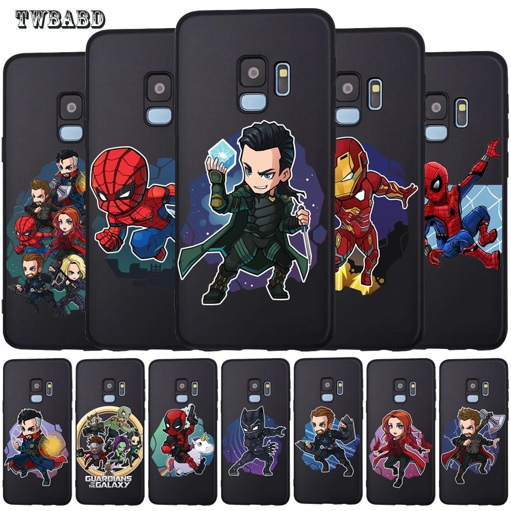 TPU Case Cover Protective-Cover Groot Marvel Spiderman S7-Edge Venom Black Samsung Galaxy