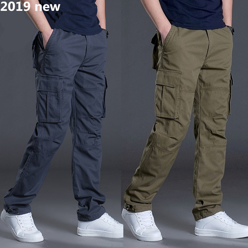 2019 NEW Tactical Pants Men Military Army Black Cotton Ix9 Zipper Streetwear Autumn Overalls Cargo Pants Men Military Style