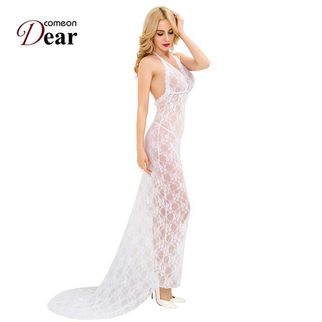RJ80228 Comeondear Lingerie Sexy Mulheres Ver Através Transparente Branco Floral Lace Lingerie Vestido Com Decote Em V Vestido Longo de Renda E Calcinha