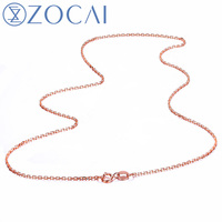ZOCAI CLASSIC FASHION SOLID 18K GOLD LINK CHAIN NECKLACE 3 COLOR WHITE GOLD ROSE GOLD AND YELLOW GOLD AVAILABLE X00474