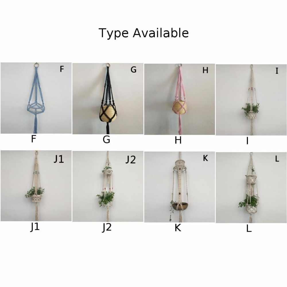 Vintage Macrame wieszak na rośliny kwiat ogrodowy uchwyt garnka wiszące liny kosz wystrój
