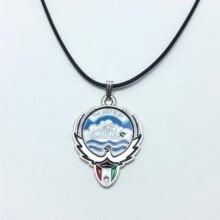 2pcs 31*41mm Glamour Pop Silver/Gold Kuwait Emblem Flag Pendant Necklace DIY Handmade Necklace Chain Length 45cm kuwait