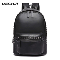 DECRJI Fashion Rivet Women Backpack Shoulder Bag Unisex PU Leather Schoolbag Backpack For Teenage 2018 Rucksack Back Pack Black