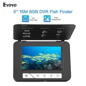 Image 1 - Cámara de vídeo de pesca submarina Eyoyo EF15R 1000tvl 15M 4 Uds infrarrojos + 2 uds cámara de vídeo submarino LED blanco para pesca en hielo