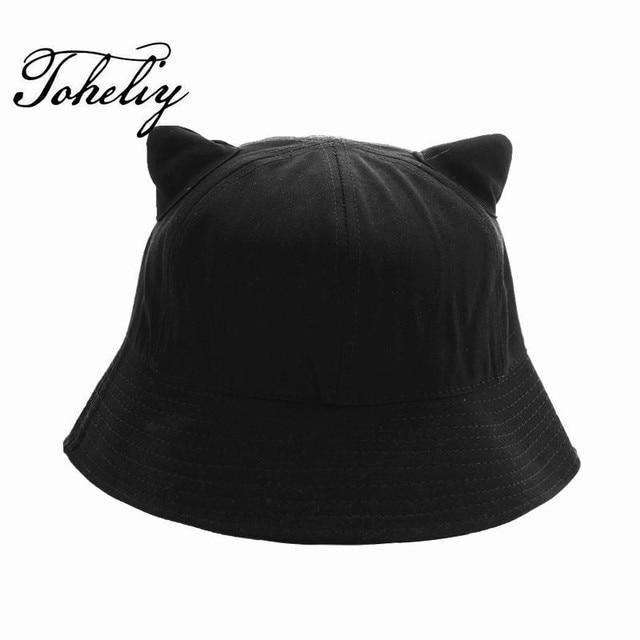 2018 New Hot Sale solid color Lovely cat ear Bucket Hats for Men Bucket Cap  Outdoor 7444f877f6d