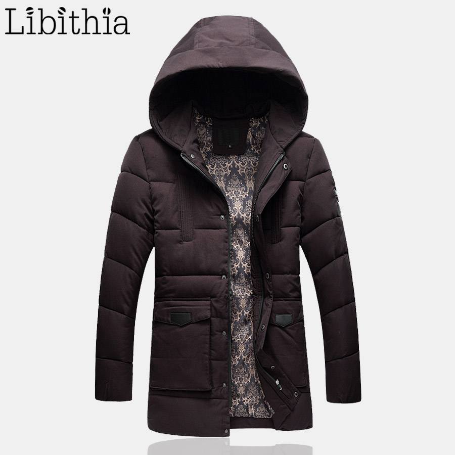 Men Casual Cotton Down Parka Jacket Men's Long Style Polyester Zippers Coat Hooded Winter Clothes Male Black Purple K182 2016 men of new style fashion male hooded embroidery cotton quilted jacket down jacket coat