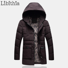 Men Casual Cotton Down Parka Jacket Men's Long Style Polyester Zippers Coat Hooded Winter Clothes Male Black Purple K182