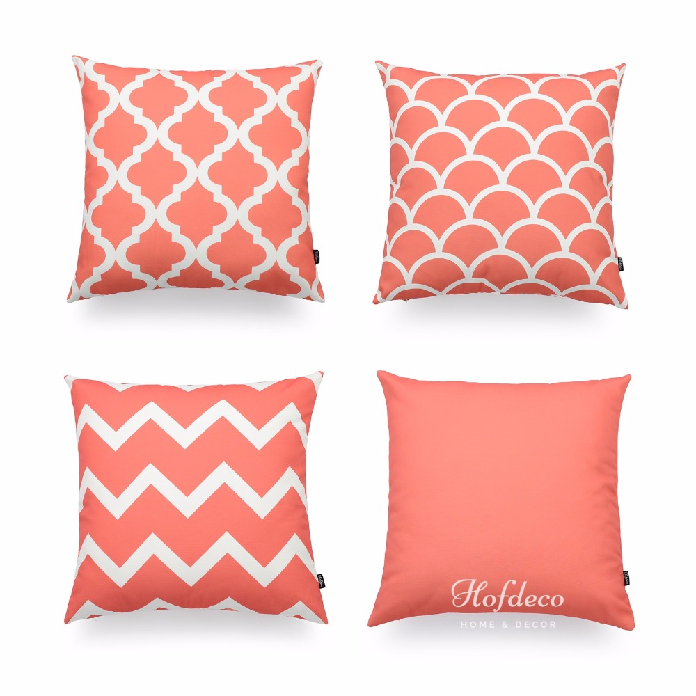 Hofdeco Decorative Throw Pillow Cover Coral Pink Scandinavian Geometric  Canvas Cushion Case 45x45cm In Cushion Cover From Home U0026 Garden On  Aliexpress.com ...