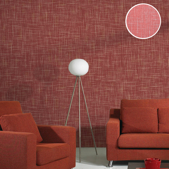 Buy modern solid color vinyl linen for Red wallpaper designs for living room