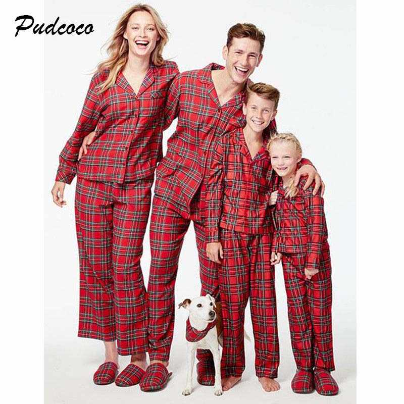 c89592d087 Pudcoco 2018 Family Matching Christmas Pajamas Set Xmas Plaid Set Sleepwear  Outfits Homewear Adult Kids Costume