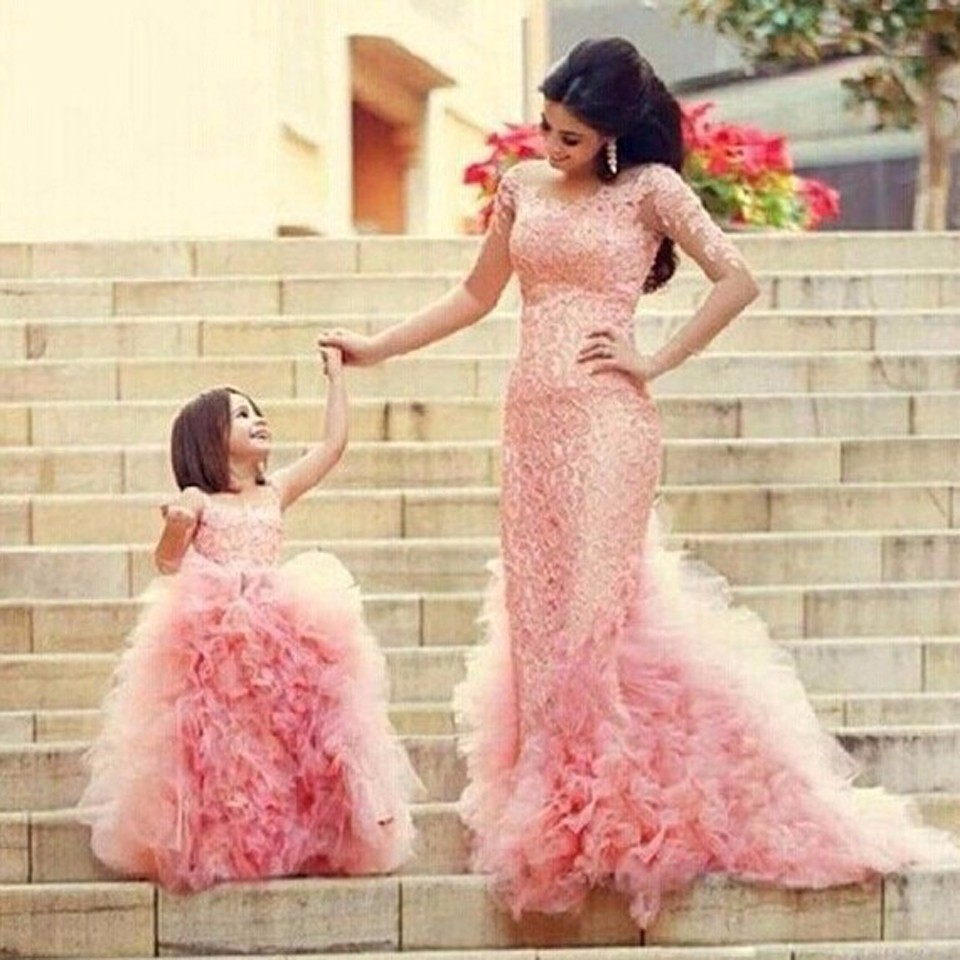 Girls Princess Dresses Baby Girl Lace Floral Christmas Party Formal Long Dresses Kids Girls Party Ball Gown Dress Custom Made girl party dress christmas dress for girl 2017 summer formal girl flower gir dresses junior girls prom gown dresses baby clothes
