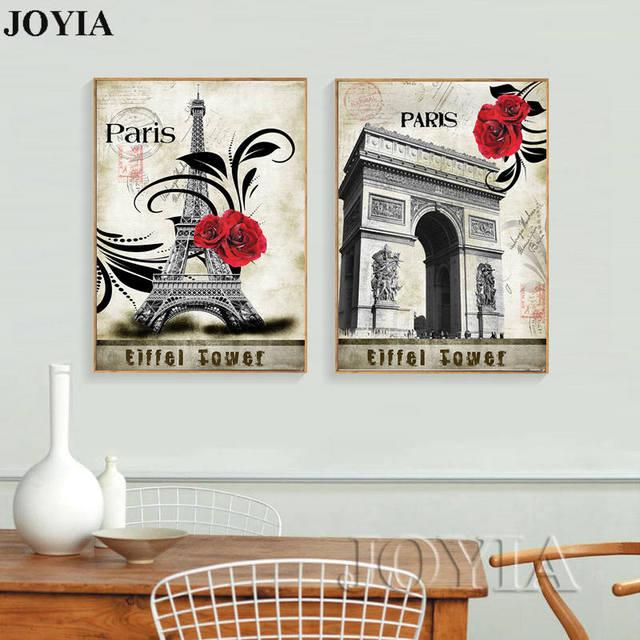 Vintage paris canvas art paintings eiffel tower antique pictures decorative painting calligraphy 2 piece
