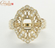 Cushion 6x6mm SOLID 14ct Yellow GOLD Natural DIAMOND ENGAGEMENT SEMI MOUNT RING