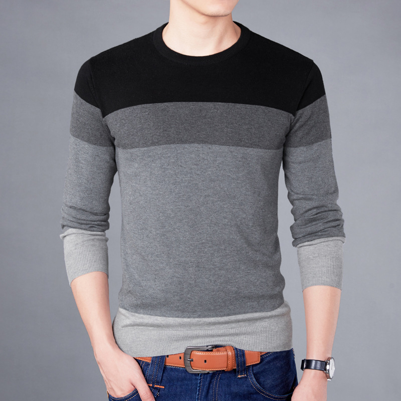 Men's Sweater Pullover Round-Neck Korean-Version M-3XL of The-Bottoming-Shirt Matching