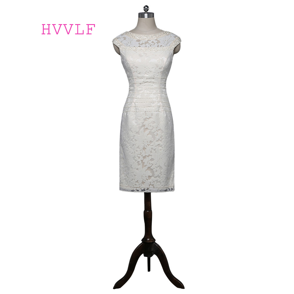 Beige 2019 Mother Of The Bride Dresses Sheath Cap Sleeves Knee Length Lace Beaded Plus Size Groom Mother Dress For Wedding