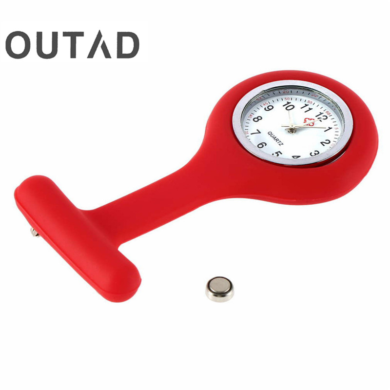 OUTAD Mini Portable Silicone Men Women Unisex Watch Doctor Nurses Pocket Fob Watches Multiple Colors Brooch