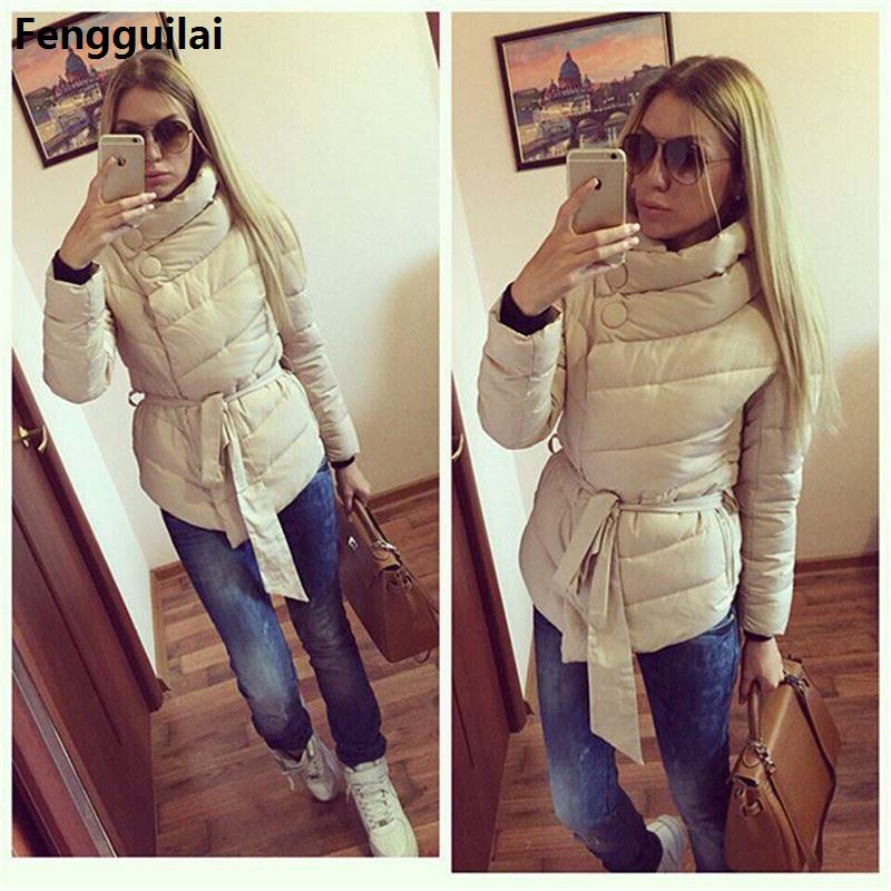 New Arrival Autumn Winter Women Jackets Long Length Fashion Solid With Pockets Turtleneck Down   Parkas   Casual Warm Coat 3 Color