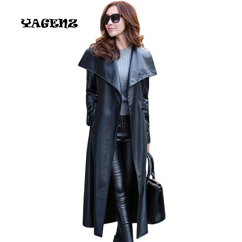 Plus Size M-3XL Vintage Black PU   Leather   Jacket Coat Women Long   Leather   Outwear Coat Women Long   Leather   Coat Oversize Women Coat