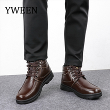 YWEEN Men's Leather Snow Boots Lace Up Ankle Boots High Top Winter Shoes with Fur Lining