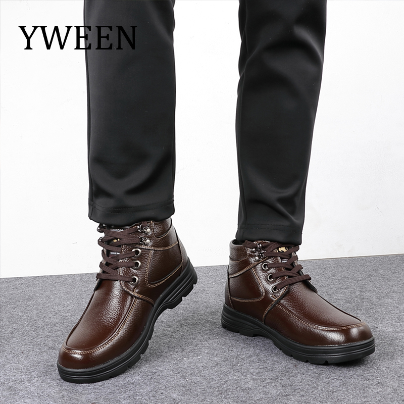 YWEEN Men's Leather Snow Boots Lace Up Ankle Boots High Top Winter Shoes with Fur Lining maximumcatch 5 6wt fly fishing combo 9ft fly rod and avid pre spooled reel outfit