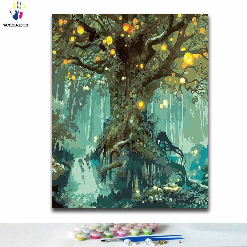DIY Coloring Paint By Numbers A Tree Paintings By Numbers With Kits 40x50 Framed