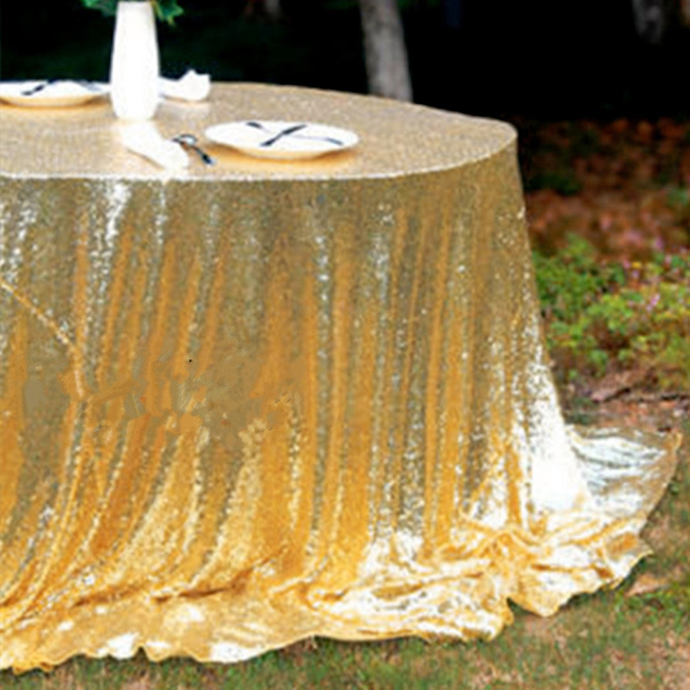 Golden Sparkling Round Sequins Table Cloth for Wedding