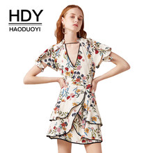 HDY Haoduoyi Floral Print Mini Women Dress Deep V Neck Layered Frills Cut Out Back Bow Tie Short Sleeve Vestidos(China)
