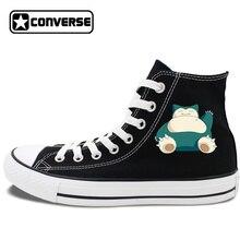 Anime Converse All Star Skateboarding Shoes Boys Girls Pokemon Snorlax White Black Canvas Sneakers Design 2 Colors