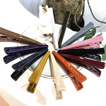 2pcs Women Simple Colorful Acrylic Hair Clips Solid Big Size Duck Plain Barrettes To Hold Easily Non-Slip Hairpins