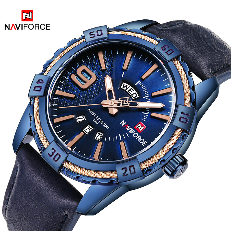 2018 Naviforce Brand Men's Sport Watches Men 30M Waterproof Genuine Leather Analog Quartz Wrist Watch Fashion Man Calendar Clock spa pharma минеральный шампунь для сухих и поврежденных волос spa pharma 500 мл