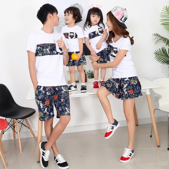 Family Matching Outfits Summer Small Floral Clothes Dad Kids Cotton Short Sleeves T shirt Pants Mom Girl Dress Skirt SA1305