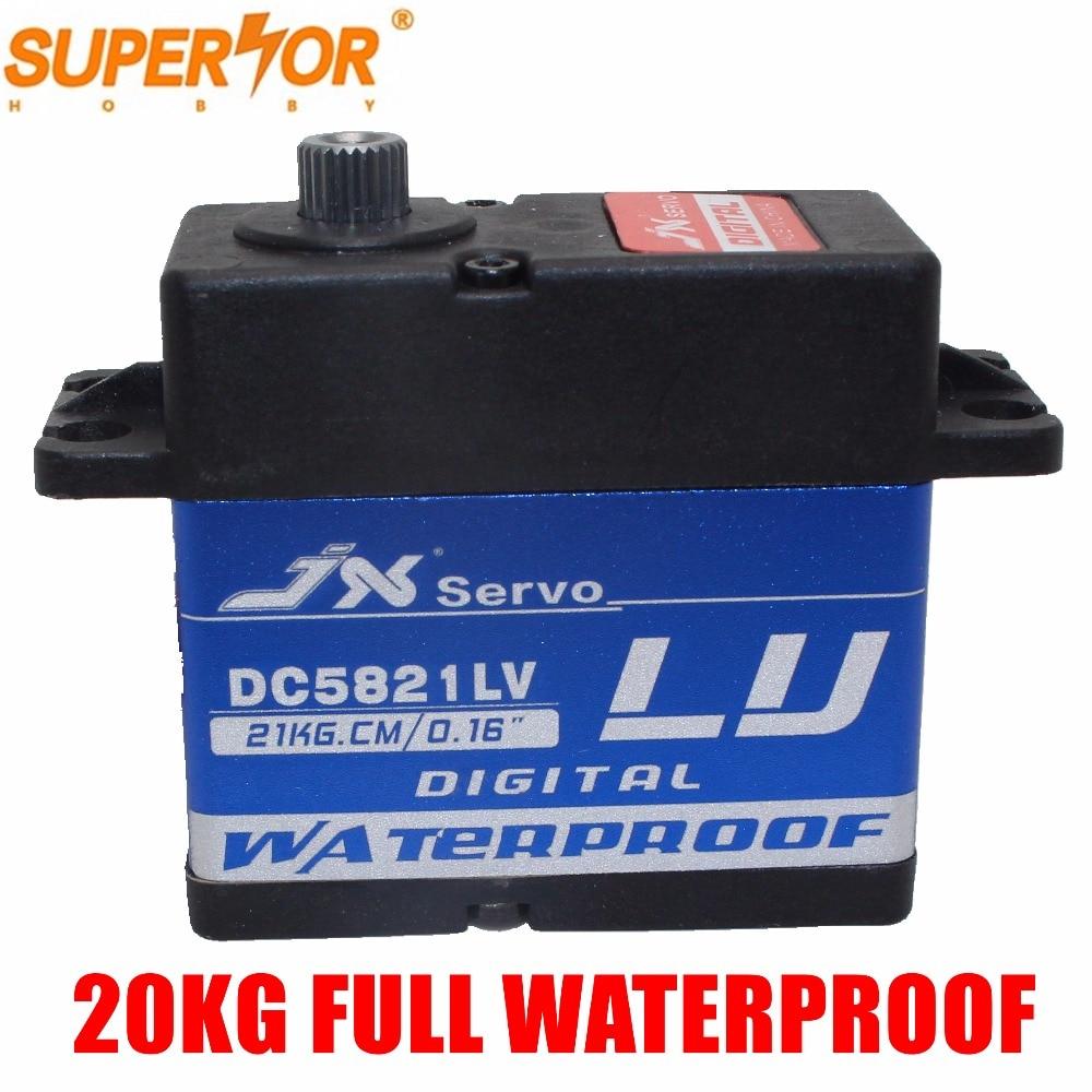JX servo DC5821LV 20KG Full waterproof Coreless mental gear 1:8 1:10 Scaler Buggy Crawler TRX-4 SCX10 D90 RC car Large Torque